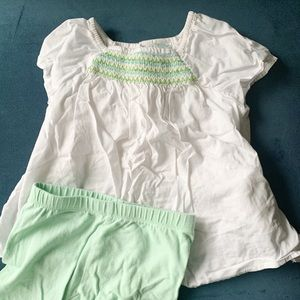 3T Girls Spring Summer Outfit White Shirt Shorts